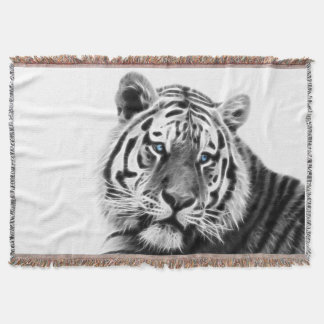 Fractal Tiger in Black and White Throw Blanket