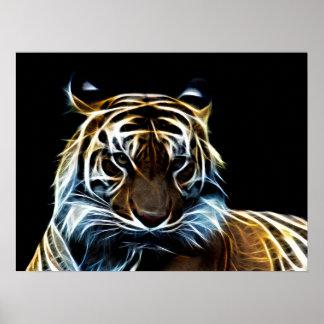 Fractal tiger poster