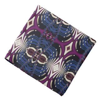 Fractal Tiled Blues and Purple Bandana