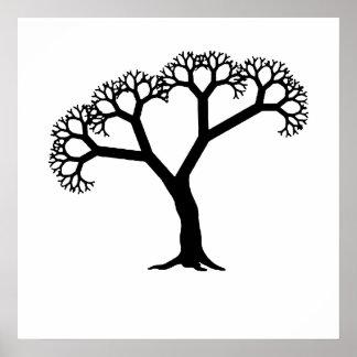 Fractal Tree Black Posters