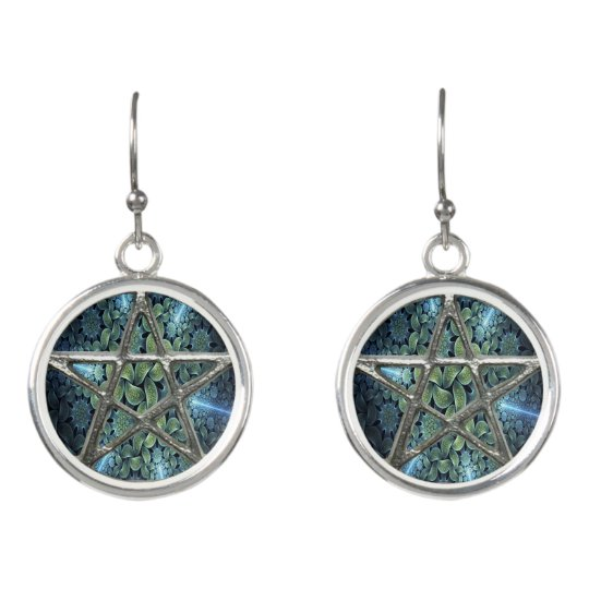 Fractal Water Pentagram Pentacle Wicca Earrings