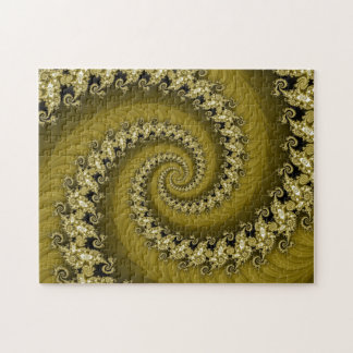 Fractal Yellow Double Spiral Puzzle