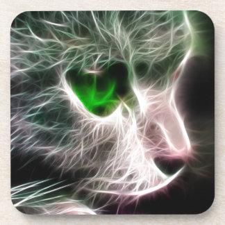 Fractalius Green Eyed Cat Coaster
