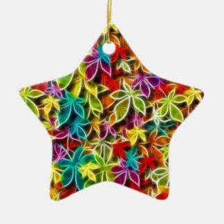 Fractalius leaf design ceramic star decoration