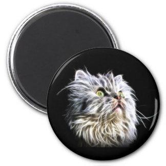 Fractalius persian cat face 6 cm round magnet