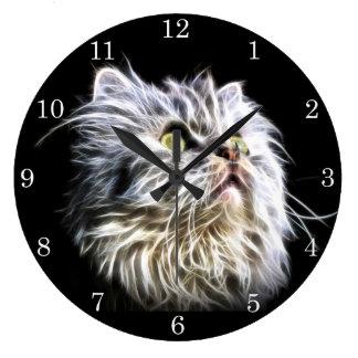 Fractalius Persian cat face Wall Clocks