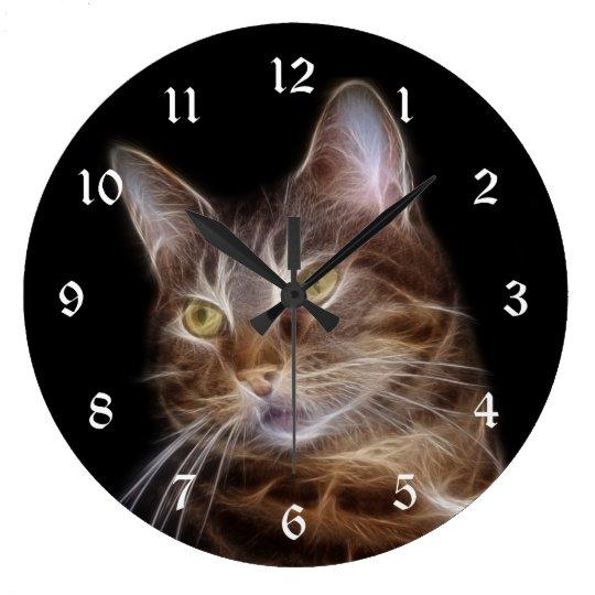 Fractalius tabby cat large clock