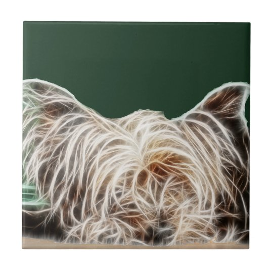 Fractalius Yorkie Dog Small Square Tile