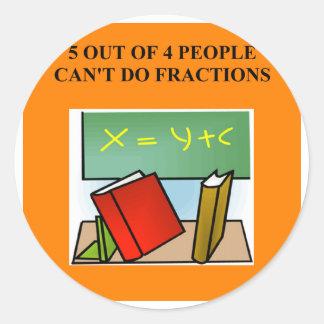 fraction math joke classic round sticker