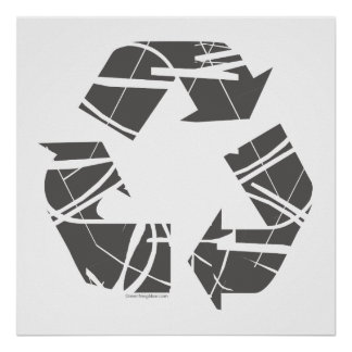 Fractured Gray Recycle Sign
