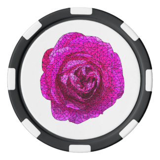 Fractured Pink Rose Poker Chips