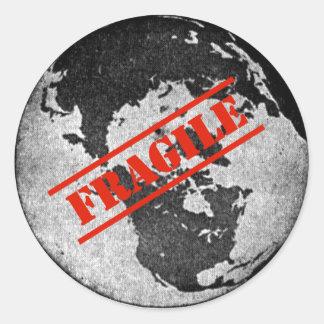 Fragile Earth Round Sticker
