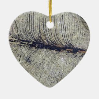 Fragile Fossil Plant Leaf Ceramic Heart Decoration