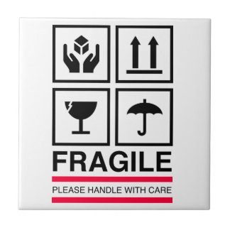 Fragile Handle with care graphic label design Tile