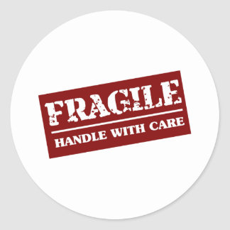 Fragile Handle with Care Item Round Sticker