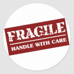 Fragile Handle with Care Item Round Stickers
