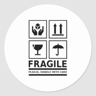 Fragile Handle with Care Round Sticker