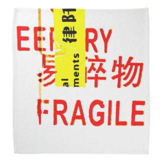 FRAGILE Markings - Torn Peeled Package Bandannas