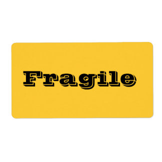 Fragile Moving Labels in Yellow Orange