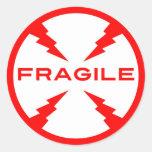 Fragile Symbol Round Stickers