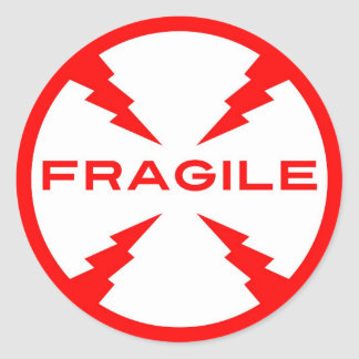 Fragile Symbol Round Stickers