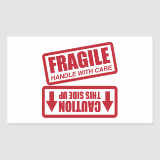 FRAGILE THIS SIDE UP RECTANGULAR STICKER