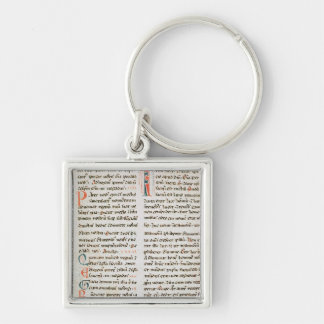 Fragment from a Cathar manuscript Silver-Colored Square Key Ring