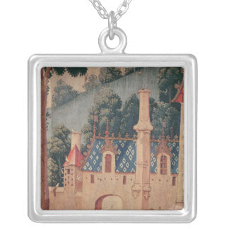 Fragment of a medieval tapestry silver plated necklace
