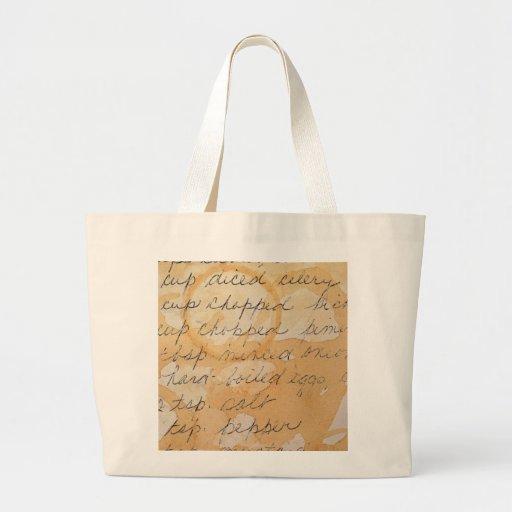 fragment of a recipe canvas bag