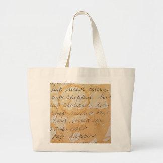 fragment of a recipe jumbo tote bag