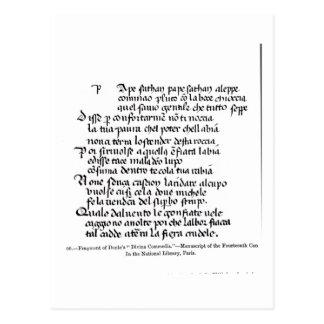 Fragment of Dante's  'Divina Commedia' Postcard