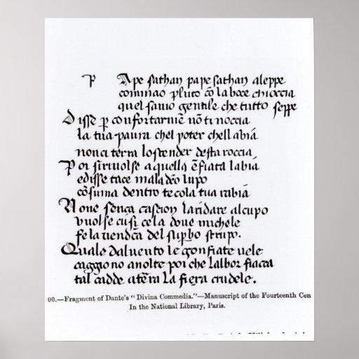 Fragment of Dante's  'Divina Commedia' Print