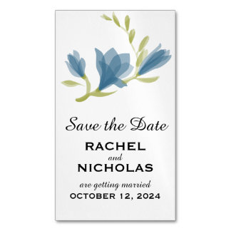 Fragrant Freesia Petals | Save the Date Magnetic Business Cards