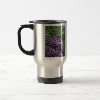 Fragrant purple flowers in the garden mug