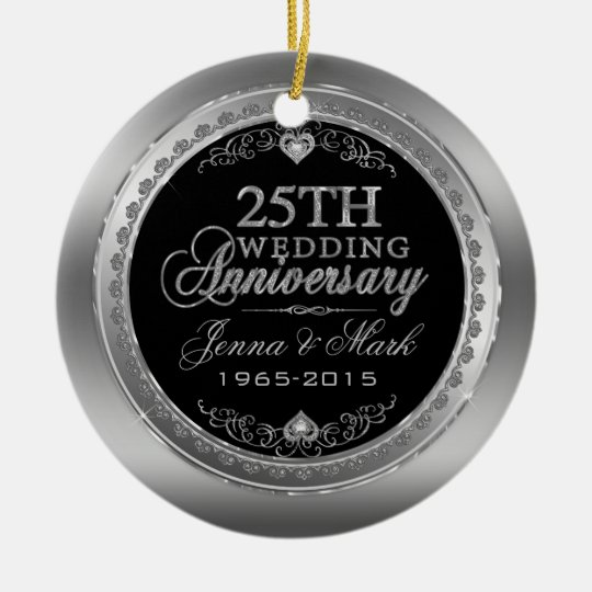 Frame & Hearts 25th Wedding Anniversary Christmas Ornament