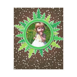 Frame with Christmas Trees on brown bg Canvas Print