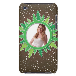 Frame with Christmas Trees on brown bg iPod Touch Cover