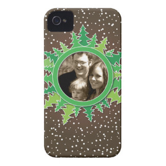 Frame with Christmas Trees on brown bg iPhone 4 Case-Mate Cases