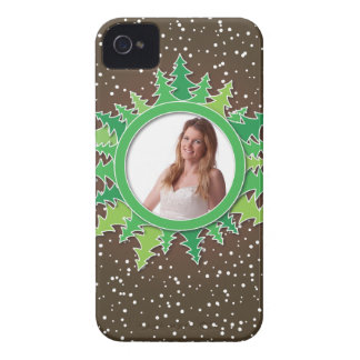 Frame with Christmas Trees on brown bg iPhone 4 Covers
