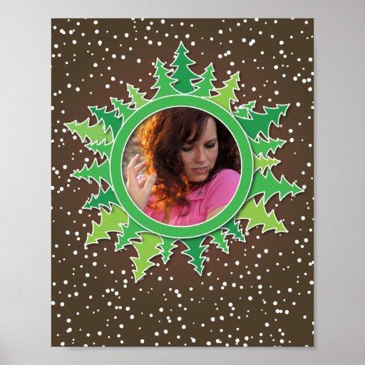 Frame with Christmas Trees on brown bg Poster