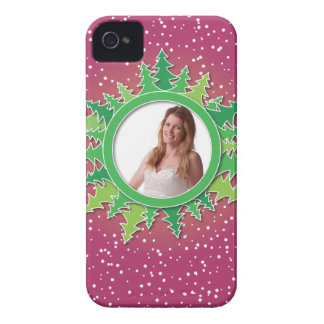 Frame with Christmas Trees on pink bg iPhone 4 Case-Mate Case