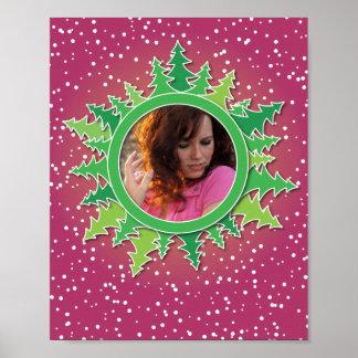 Frame with Christmas Trees on pink bg Print