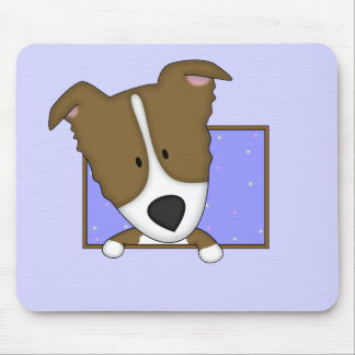 Framed Cartoon Brown Border Collie Mouse Mat