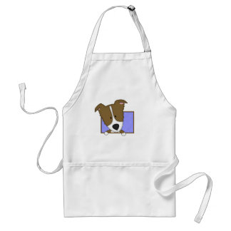Framed Cartoon Brown Border Collie Standard Apron