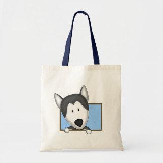 Framed Cartoon Siberian Husky Tote Bag