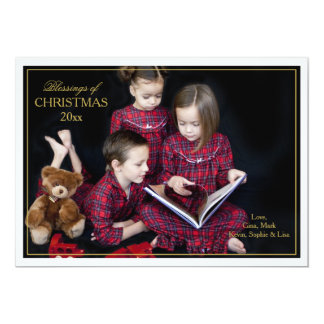 Framed Christmas Blessings Photo Card 13 Cm X 18 Cm Invitation Card