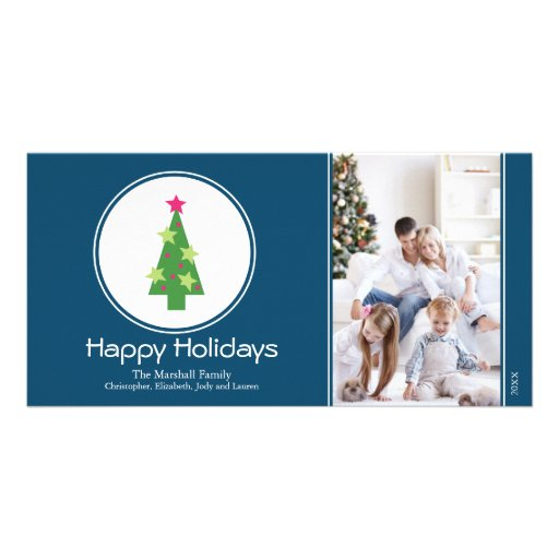 Framed Christmas Tree Holiday Photocard (blue) Customized Photo Card