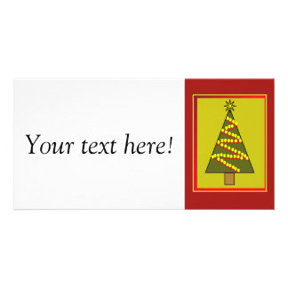 Framed Christmas tree illustration Photo Greeting Card