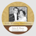 Framed Damask Golden 50th Anniversary Round Sticker