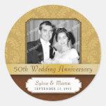 Framed Damask Golden 50th Anniversary Round Sticker
